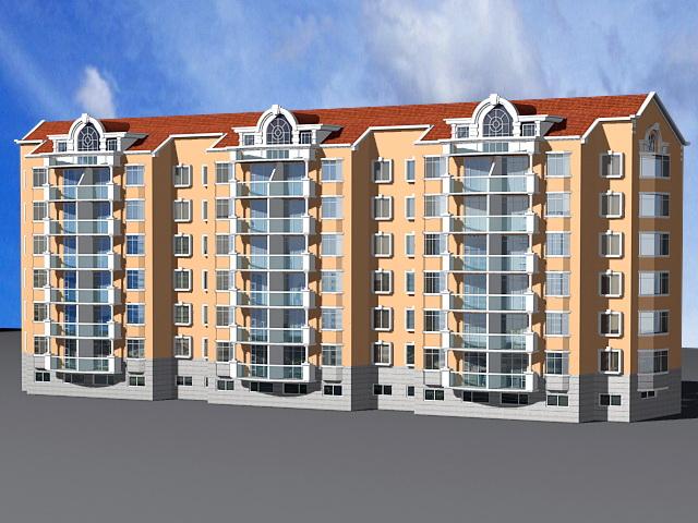 Modern Condominium Apartment Building 3d rendering