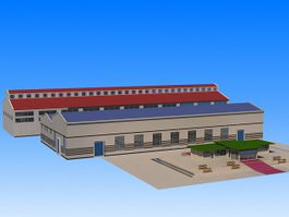 Industrial Warehouse Building 3d preview