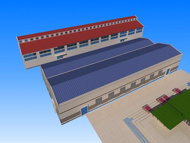 Industrial Warehouse Building 3d rendering