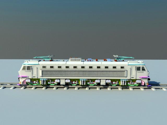 Electric Locomotive Engine 3d rendering