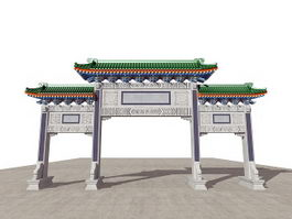 Ancient Chinese Paifang Gate 3d preview