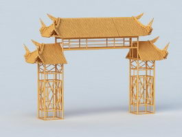 Japanese Gate 3d preview