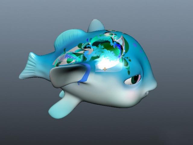 Animated Cartoon Fish 3d rendering