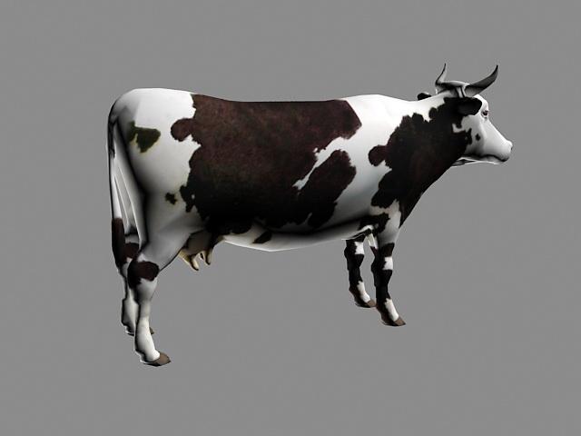 Black & White Cow Rig 3d rendering
