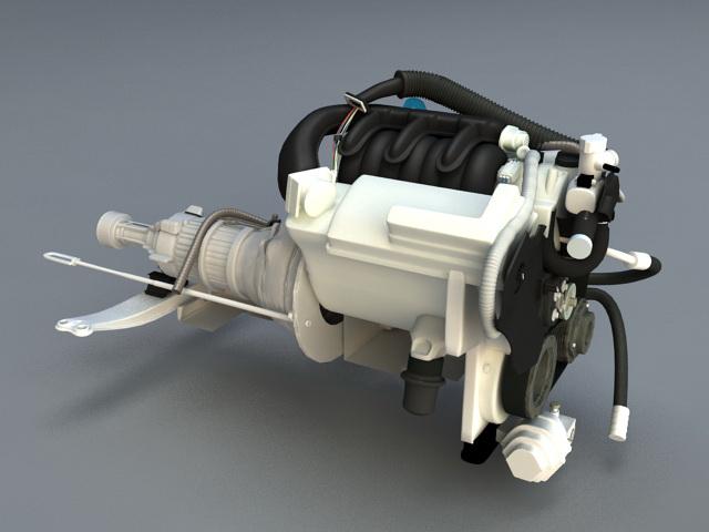 Diesel Engine 3d rendering