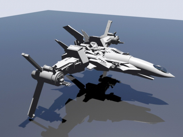 Space Sci-Fi Fighter 3d rendering