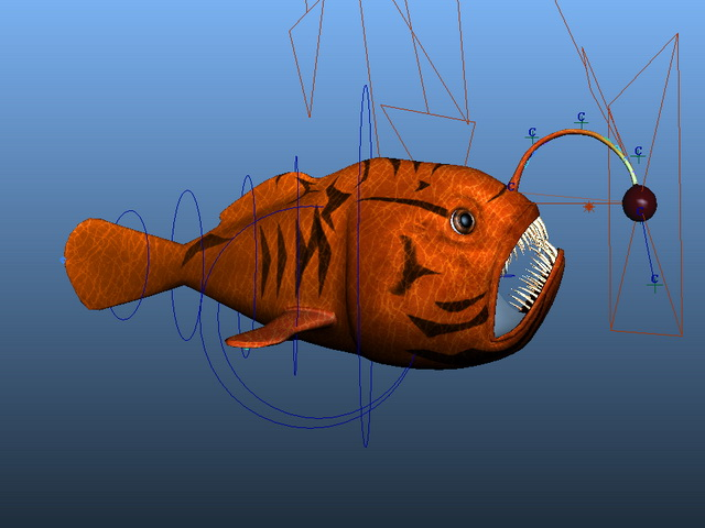 Red Angler Fish Rig 3d rendering