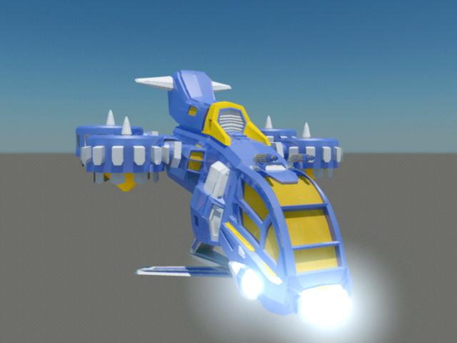 Sci-Fi Gunship Animation 3d rendering