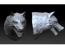Wolf Head Sculpture 3d preview