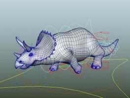 Animated Triceratops Rig 3d model preview