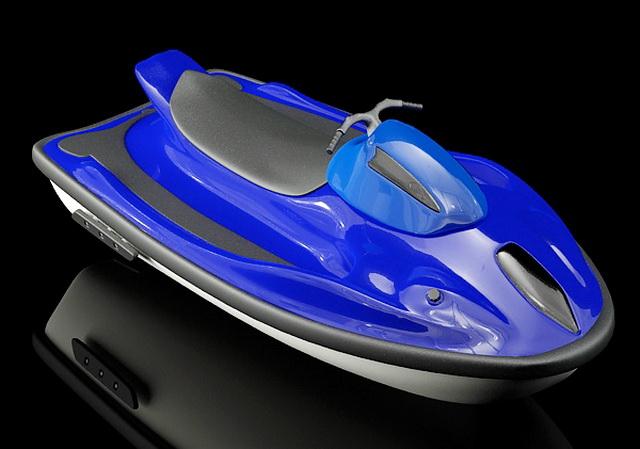 Blue Motorboat 3d rendering