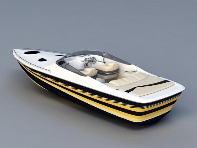 Luxury Speedboat 3d rendering