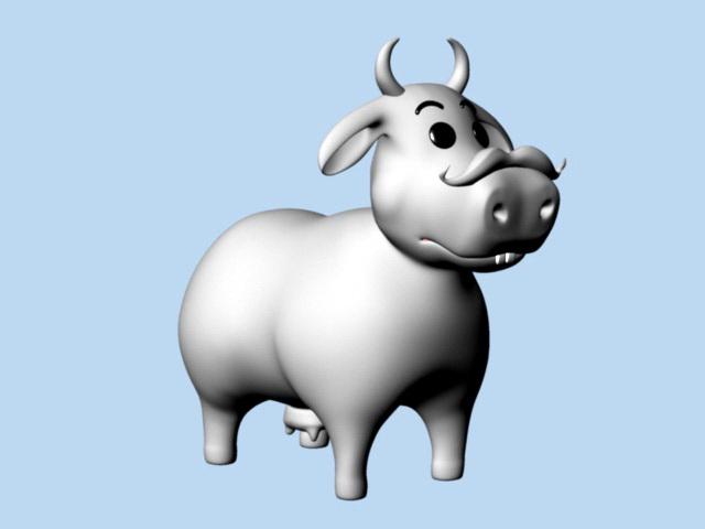 Cartoon Cow Rig 3d rendering