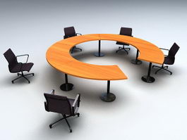 Round Conference Table with Chairs 3d preview
