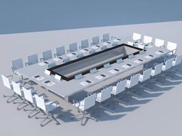 Large Office Conference Table 3d preview