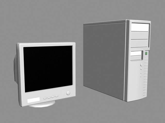 Old Desktop Computer 3d rendering