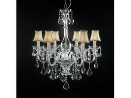 Crystal Chandelier with Shades 3d preview