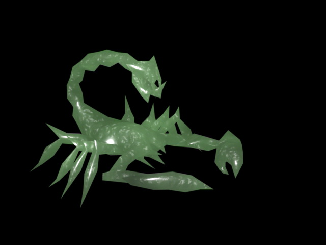 Jade Scorpion 3d rendering