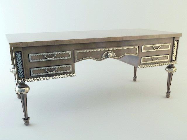 English Antique Writing Desk 3d rendering