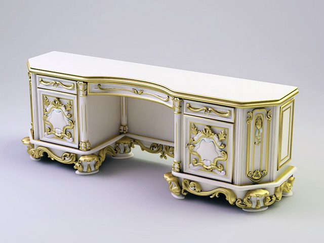 Antique French Ladies Writing Desk 3d rendering