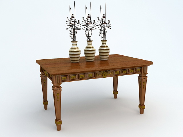 Vintage Table and Vases 3d rendering