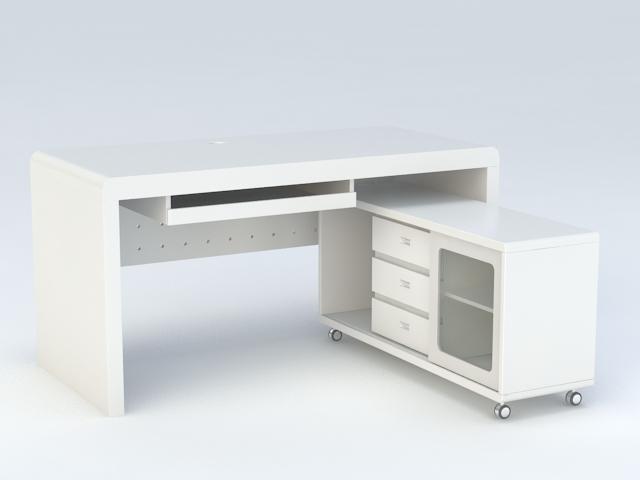L-shaped Office Desk 3d rendering