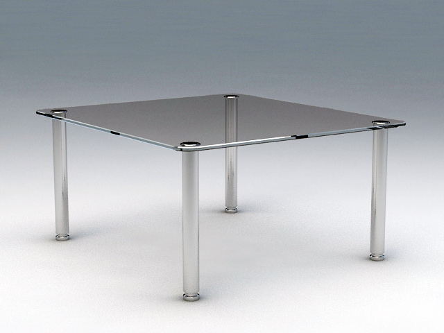 Square Glass Coffee Table 3d rendering