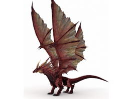 Red Fire Dragon 3d model preview