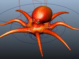 Red Octopus Rig 3d preview