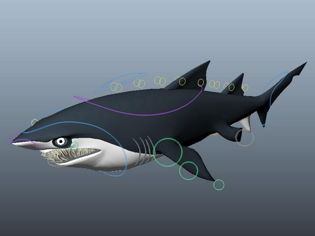 Scary Cartoon Shark Rig 3d rendering