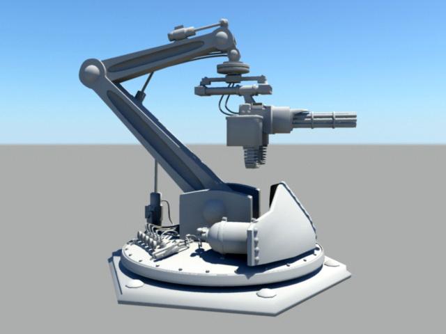 Automatic Gun Turret 3d rendering