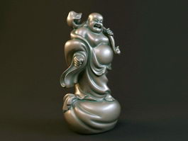 Standing Laughing Buddha Statue 3d preview