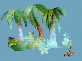 Tropical Island Cartoon 3d preview