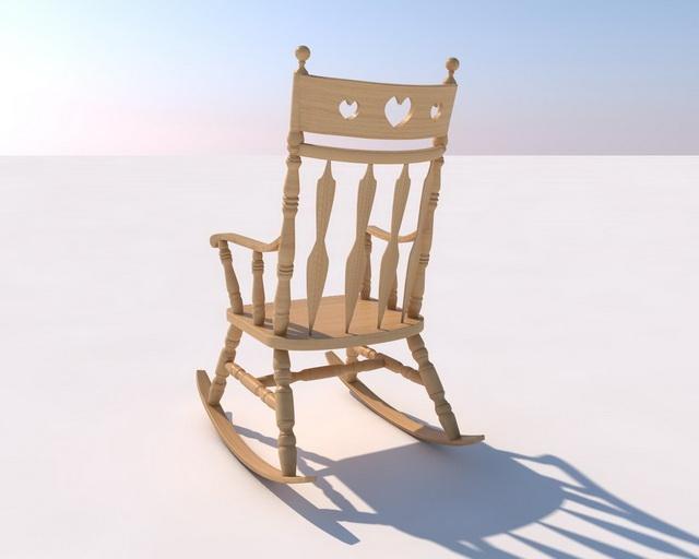 Rustic Rocking Chair 3d rendering