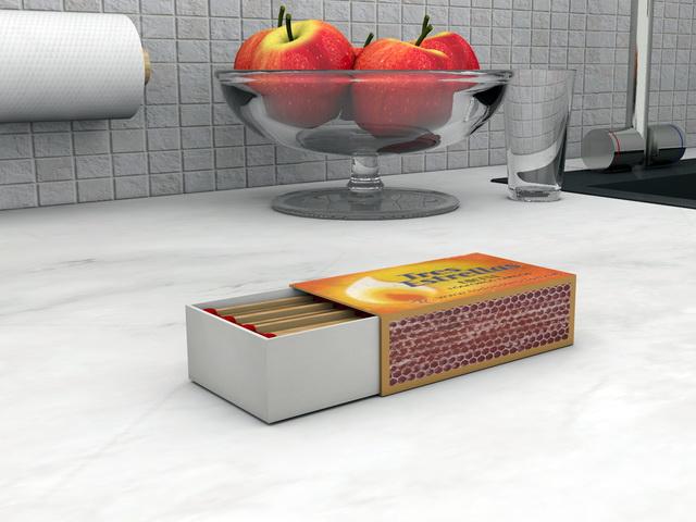 Matchbox Matches 3d rendering