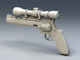 Pistol with Scope 3d model preview