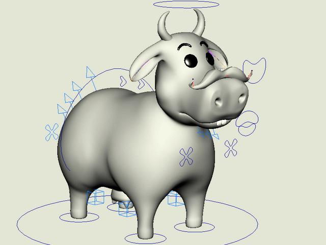 Funny Cow Cartoon Rig 3d rendering