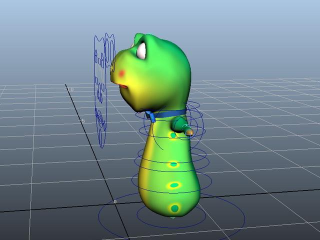 Green Worm Cartoon Rig 3d rendering