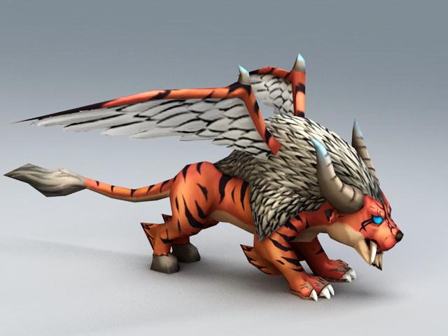 Winged Tiger 3d rendering