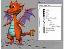 Cute Fire Dragon Rig 3d model preview
