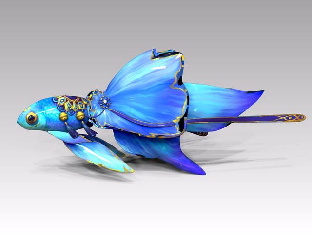 Blue Goldfish Cartoon 3d rendering
