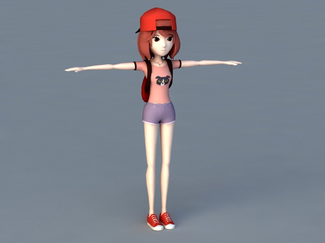 Anime Tomboy Girl 3d rendering