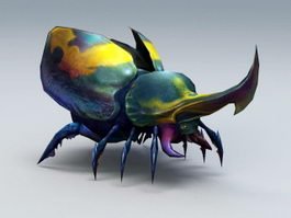 Horned Beetle 3d preview