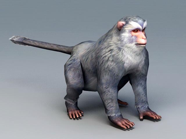 Gray Monkey 3d rendering