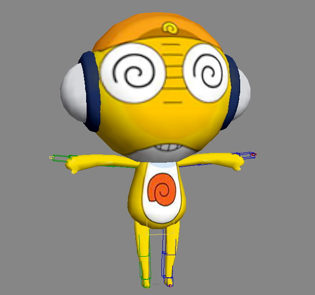 Yellow Cartoon Character Rig 3d rendering