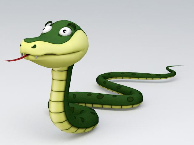 Cartoon Snake 3d rendering