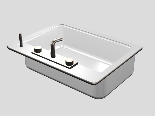 Porcelain Kitchen Sink 3d rendering