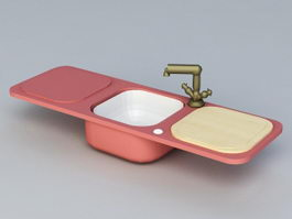 Kitchen Sink with Drainboard 3d preview