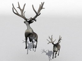 Mother Deer and Fawn 3d preview