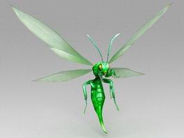 Green Cartoon Bee 3d preview